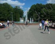 Тротуарная плитка брусчатка, фонтан в центральном парке им. Белоусова г. Тула