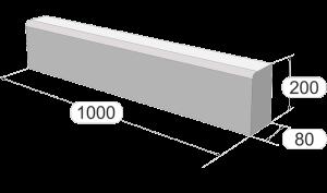 Размеры тротуарного бордюра 100-20-8 завода Stellard