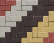 Фото укладки тротуарной плитки из четырех цветов Елочка