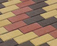 Фото укладки тротуарной плитки из трех цветов Волна