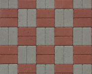 Вариант укладки тротуарной плитки Брусчатка серая и красная в шахматном порядке
