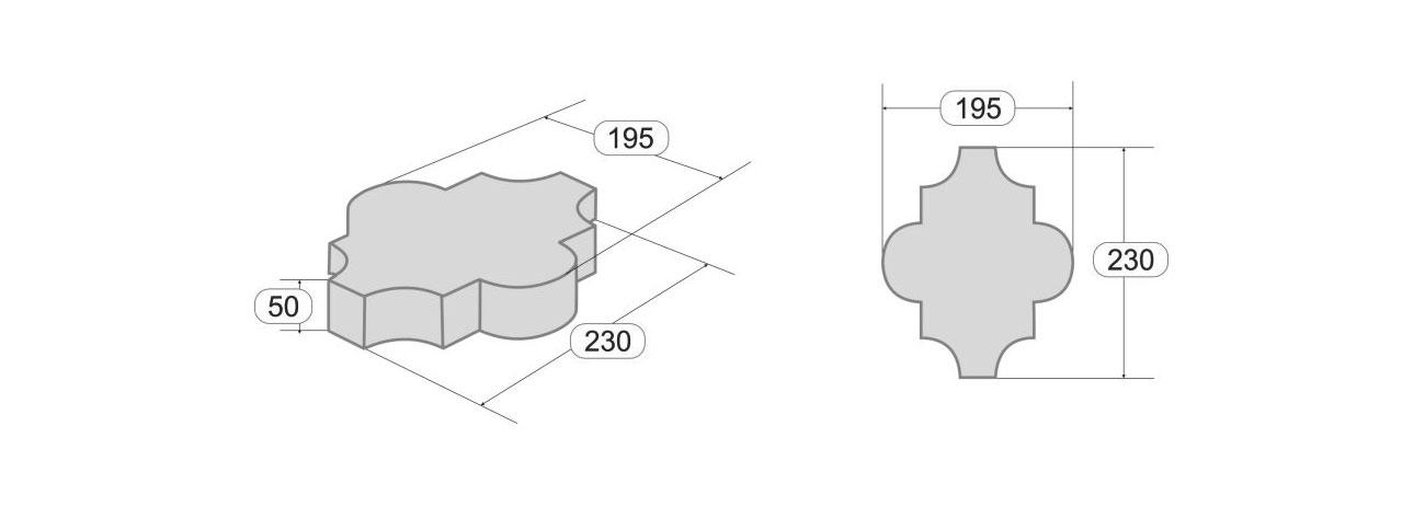 Размеры тротуарной плитки Клевер