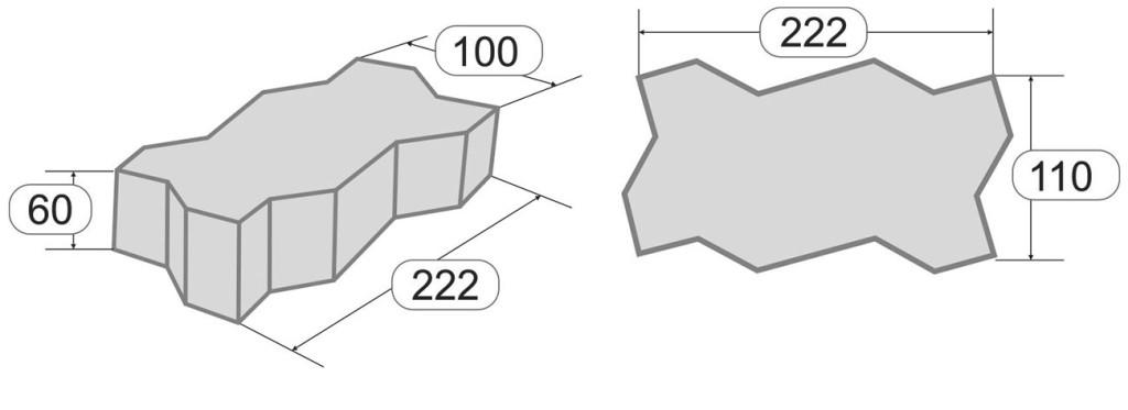 Размеры тротуарной плитки Волна
