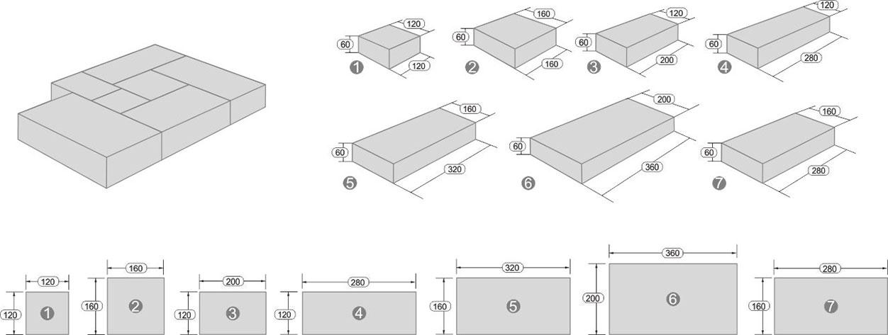 Размеры тротуарной плитки Микс Сити