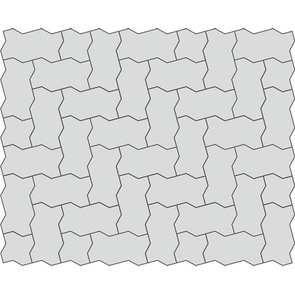 Вариант раскладки тротуарной плитки Волна 100 под машину Optimas