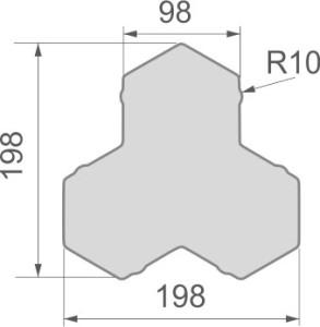Размеры тротуарной плитки Трилистник - вид сверху