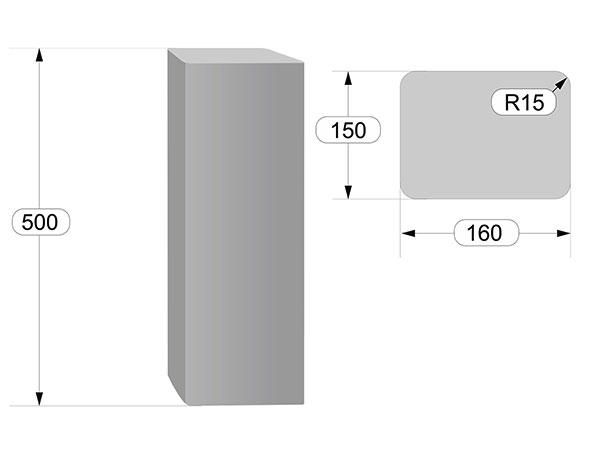 размеры прямоугольных столбиков Палисад