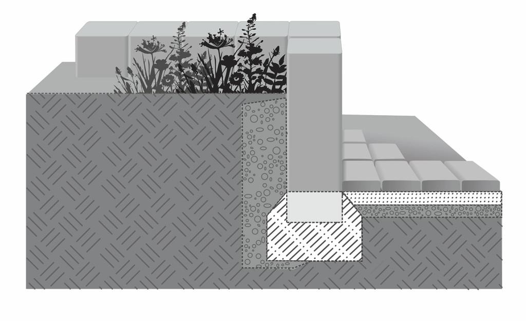 Вариант установки прямоугольных столбиков  палисадов