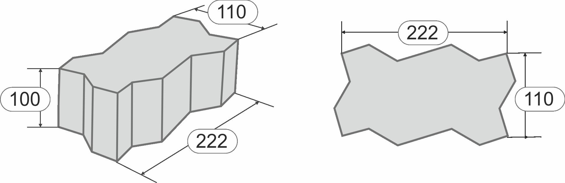 Размеры камней мощения Волна 100