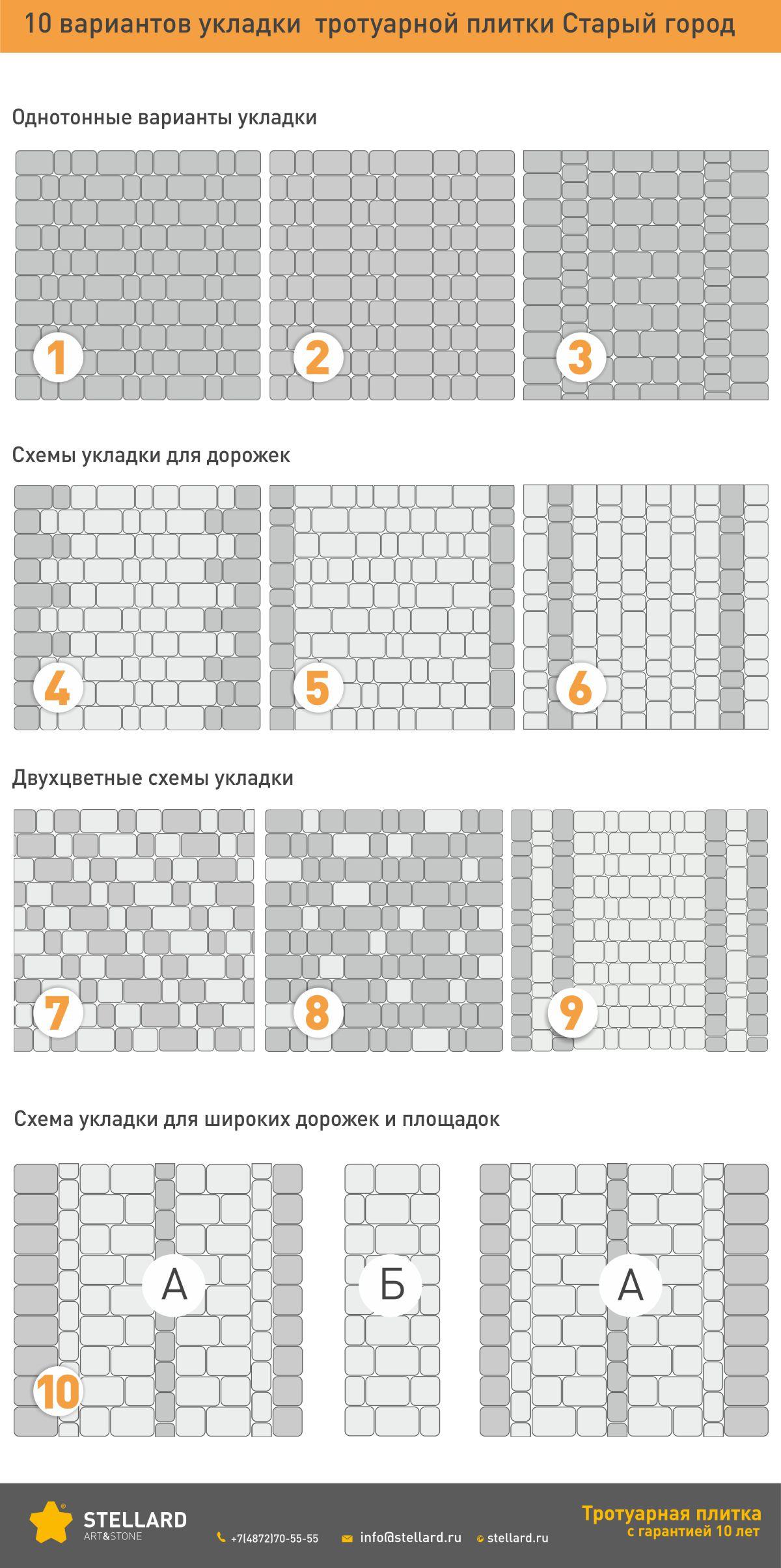 10 вариантов укладки тротуарной плитки Старый город Stellard